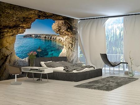 Panneau Mural 3d Paysage Trompe L œil Grotte Littorale Ocean Atelier Wybo
