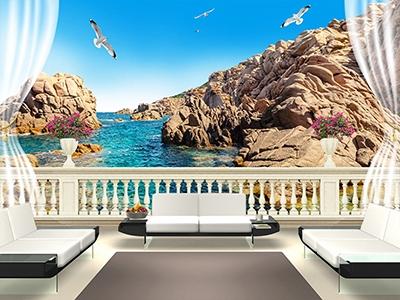 Poster 3d Salon Paysage Ocean Rocher Ciel Bleu Faux Balcon Atelier Wybo