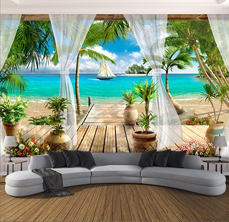 decoration 3d papier peint photo personnalise sticker xxl trompe l œil paysage tropical atelier wybo