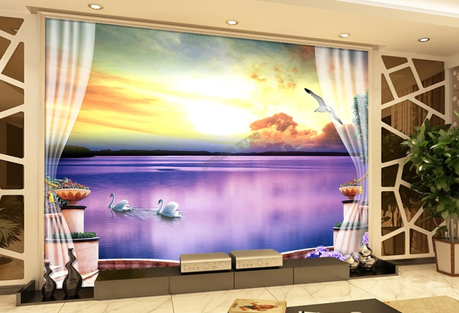 Tapisserie Photo Paysage Trompe Loeil 3D Romantique Cigne