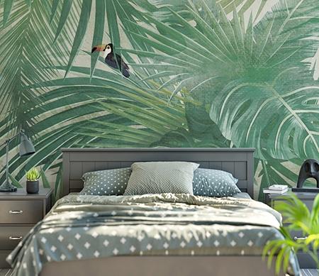 Papier Peint Plante Tropicale Tte De Lit Feuille Palmier