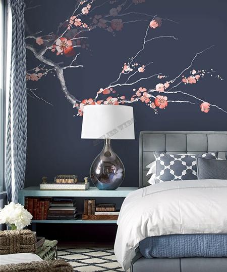 decoration d interieur zen chambre d hotel papier peint japonais fleur mei sur fond bleu fonce atelier wybo