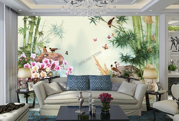 Dcoration Murale Asiatique Les Bambous Les Orchides Et