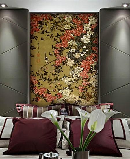 panneau oriental sepia fleurs et oiseaux vertical le unique atelier wybo