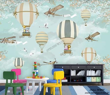 montgolfiere avion animaux decoration murale panoramique xxl bebe enfant atelier wybo