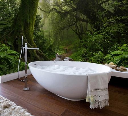 panneau etanche decoratif imprime salle de bain mur baignoire paysage de la foret primaire
