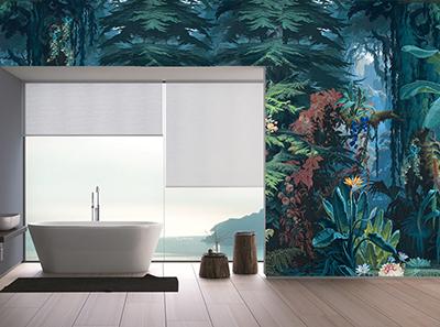 Panneau Pvc Decoratif Salle De Bain Bleue Conifere Tropicale Atelier Wybo