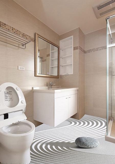 sticker sol trompe l oeil salle de bain tapis pvc 3d le caillou sur sable blanc atelier wybo