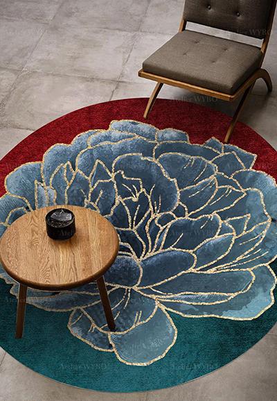 https laboutiquedemei fr tapis fleur et plante 1223 tapis floral forme ronde pivoine bleue doree sur fond rouge et vert html