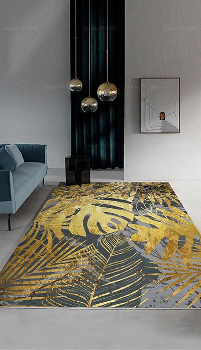 tapis sejour tropical or et gris palmier philodendron dore atelier wybo
