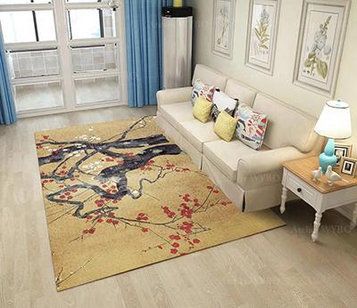 tapis japonais arbre fleur rouge fond jaune velours relief atelier wybo