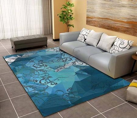 decoration d interieur tapis sol moderne en pure laine noue a la main motif abstrait fond bleu atelier wybo