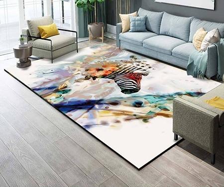 tapis sol artisanal pure laine tufte a la main art contemporain le zebre multicouleur atelier wybo