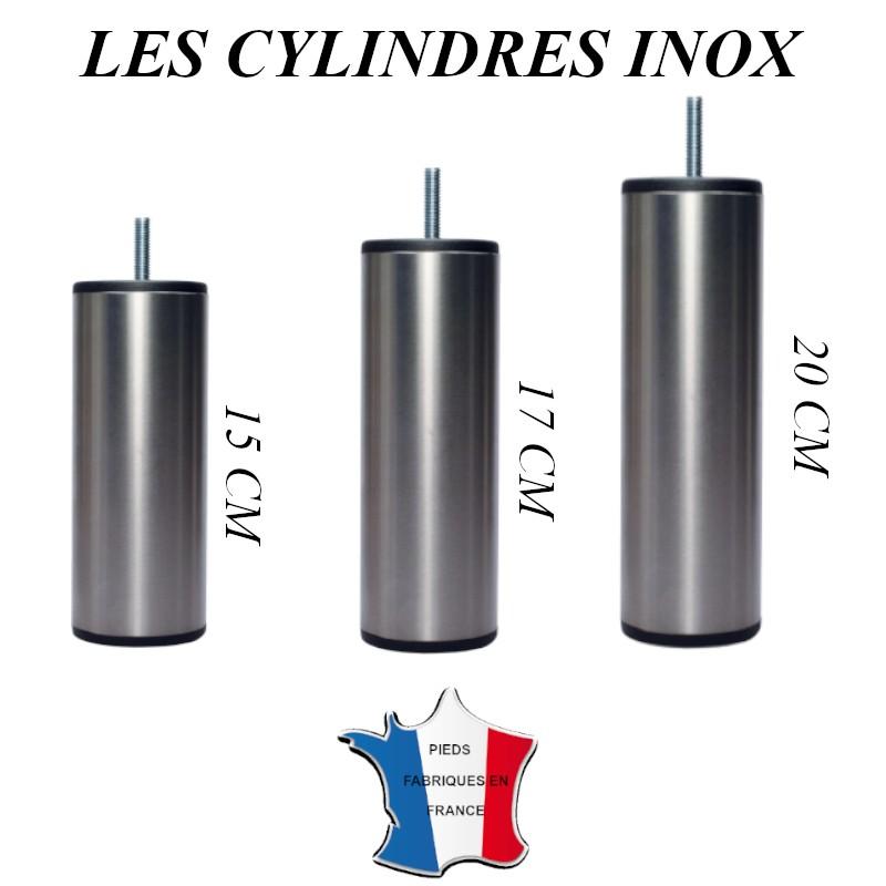 pied de lit cylindre inox