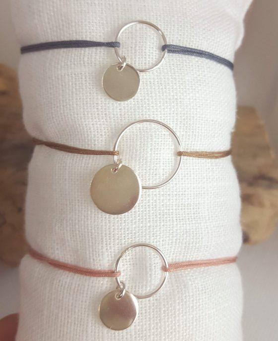 bracelet cordon et médaille argent