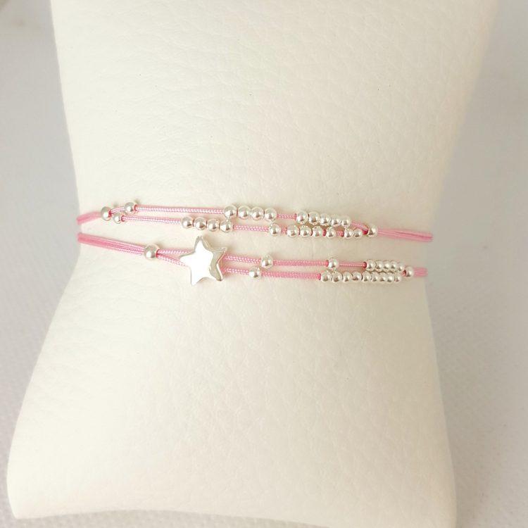 bracelet cordon et perles argent