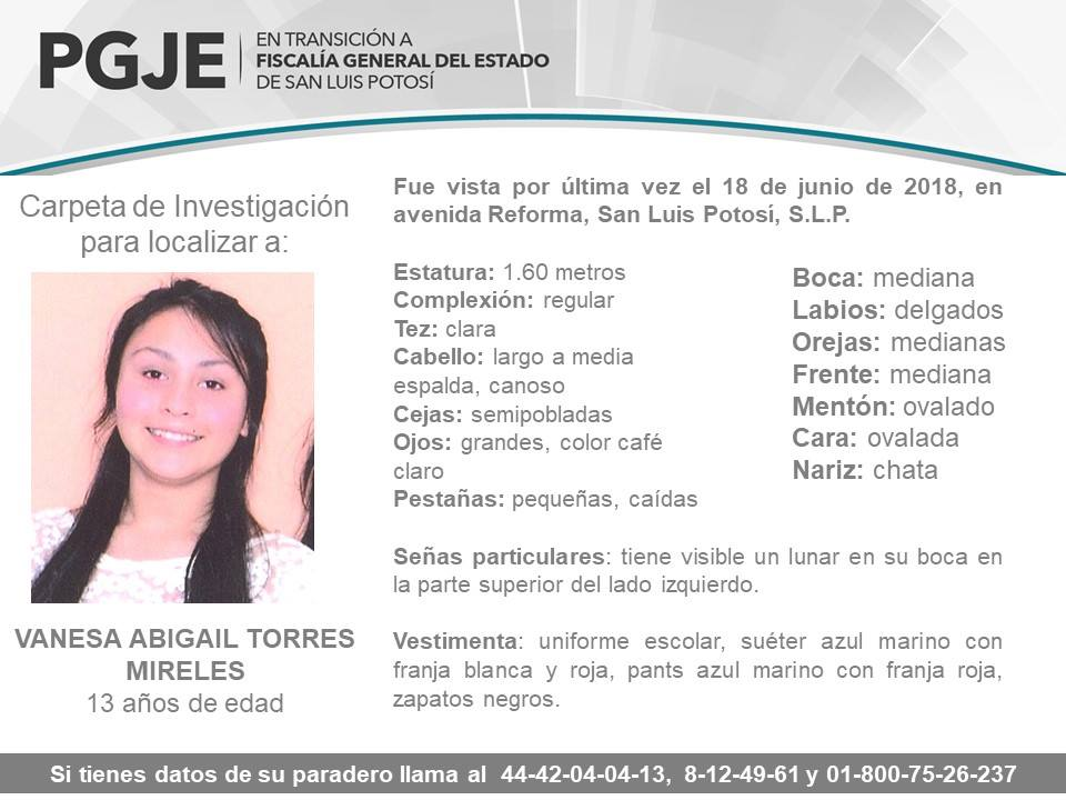 Aparece Vanesa Abigail Torres