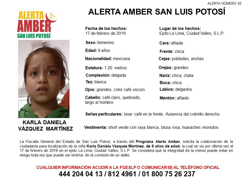 Activan Alerta Amber para Localizar a Karla Daniela Vázquez