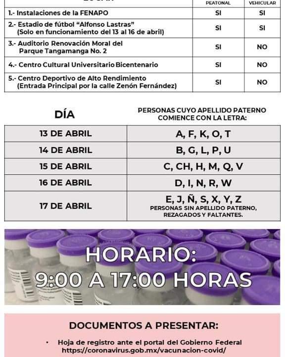 Vacunación contra el coronavirus en San Luis Potosí