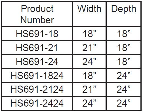 Stainless Steel Cabinet Size Chart