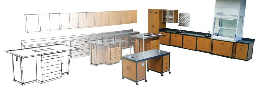 modular lab wood workspace
