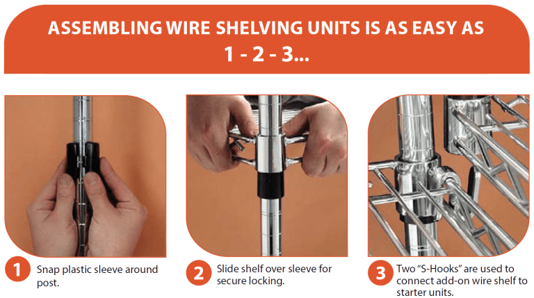 Wire shelving assembly
