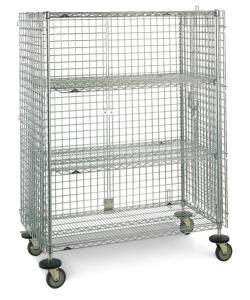 Wire lab cart with wire mesh on all sides.
