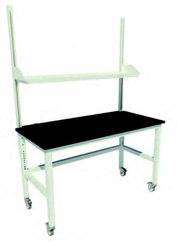 "Adjustable Height Patriot Table with Locking Swivel Casters, Uprights and One 12"" Deep Steel Shelf"