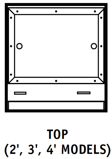 Ventilated Balance Enclosure Top Dimensions Chart