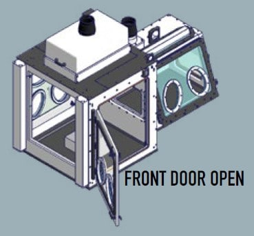 containment enclosure for virus research Front Door Open
