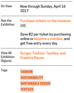 Fig. 1. The Scraps channel sidebar contains two well-trafficked links: one to purchase tickets to the museum, and one to the Scraps exhibition page on the collection website.