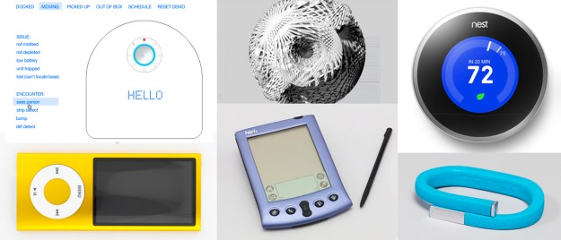 Top Row: Digital Content, Neato Interface Interactive, 2013; Source Code, Tall Green Bloom Urn, 2012; Thermostat, Nest Learning Thermostat, Second Generation, 2012; Bottom Row: iPod Nano Digital Media Player, 2009; Palm Vx Personal Digital Assistant And Stylus, 1999; Jawbone UP Fitness Tracker Wristband, 2011