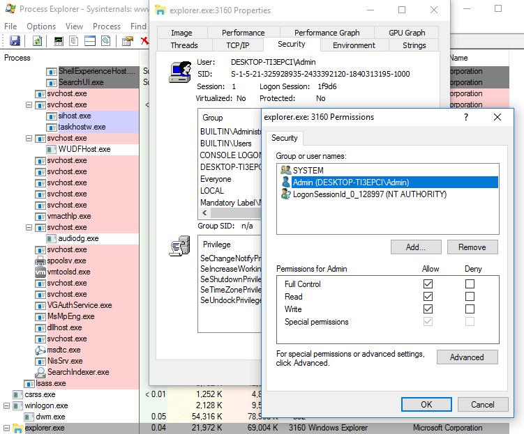 Windows Explorer default permissions