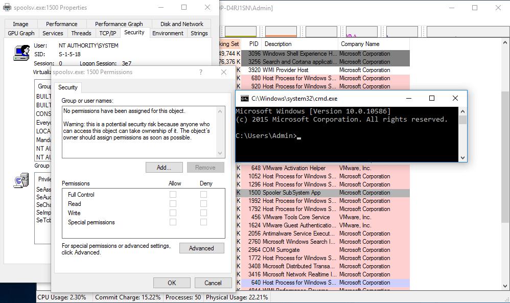 Win10 v1511 - Null SecurityDescriptor Pointer