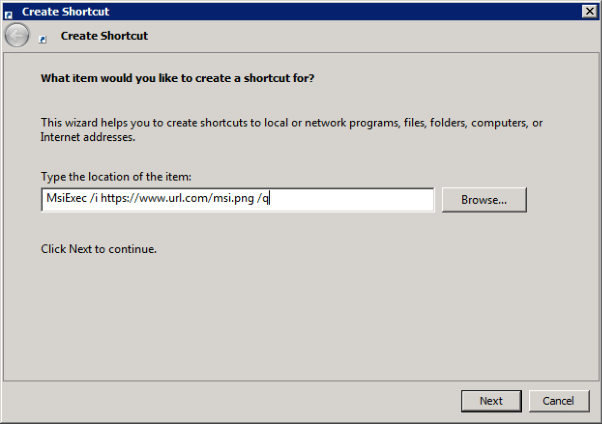 Point LNK file to msiexec and weaponise