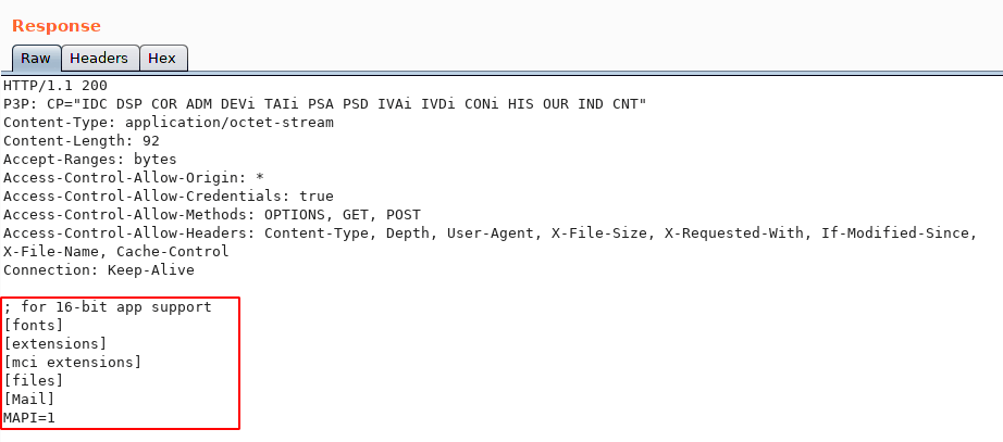 Local File 'win.ini' Displayed within Server Response
