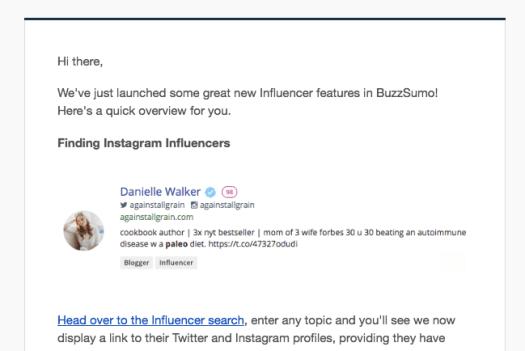 BuzzSumo instagram influencers