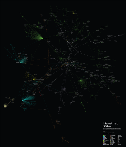 Invisible Infrastructures   Internet Map of Serbia     SHARE LAB Now we are trying to understand  how they interconnect  we are exploring a  network of networks or we can say the Inter of Internet