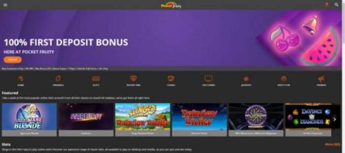 Welcome Bonus at Pocket Fruity Casino