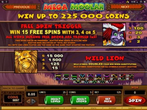 how to play mega moolah