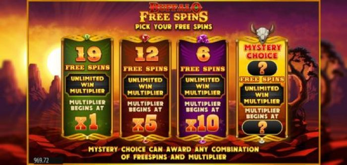 free spins bonus in buffalo rising megaways