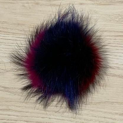 pompon fourrure mauve bleu rose