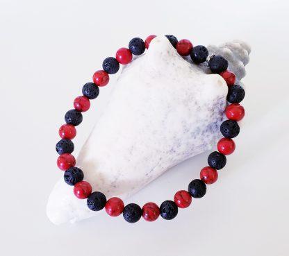 créations dominique bracelet cheville rouge et noir