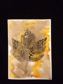 Card Brown Maple Leaf LR