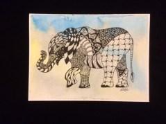 Card Elephant Walking LR