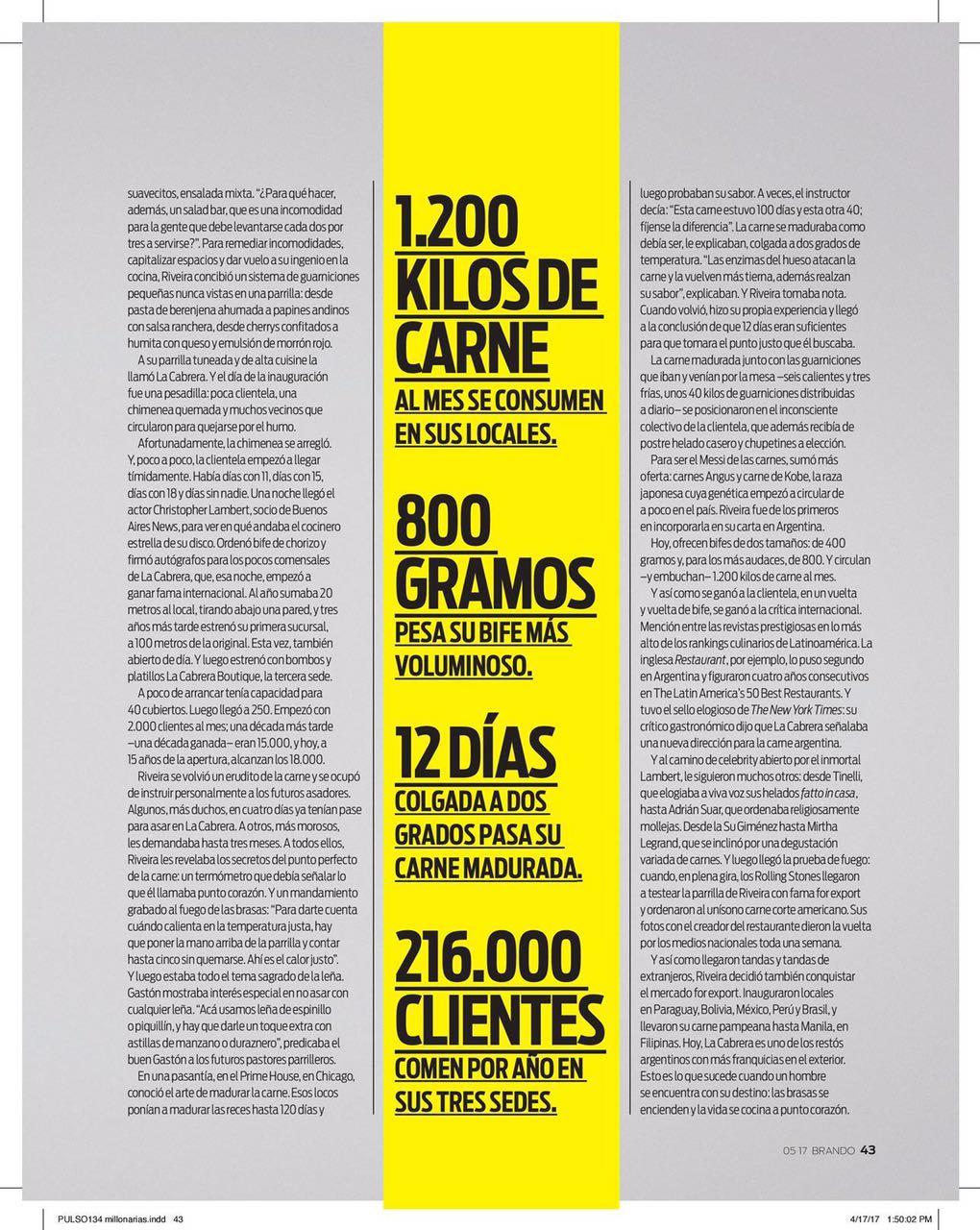 La Cabrera en Revista Brando
