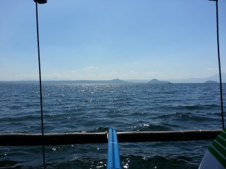 A shot taken from the boat on our way to the volcano