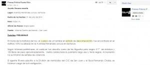 Informe original de la Policía, del 31 de Julio de 2014, que da cuenta sobre el hallazgo del cadaver de Martín Ramos Paz. En ese momento no había sido identificado.