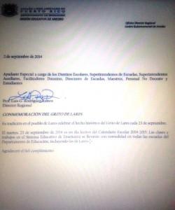 """Memo de la Oficina Regional del Departamento de Educación en Arecibo decretando que hay clases en Lares el día del """"Grito""""."""