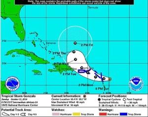 Gráfica de la trayectoria a las 8:00 p.m. de la tormenta tropical Gonzalo por el Centro Nacional de Huracanes.